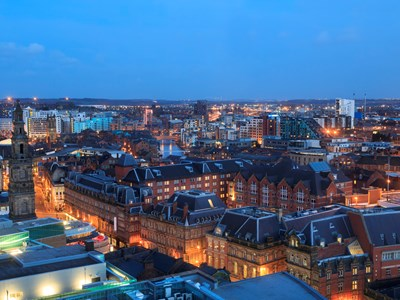 A view of the Leeds cityscape at night