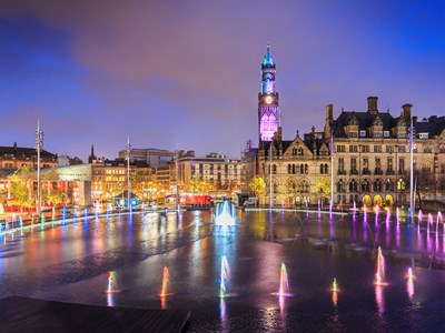A view of Bradford city centre at night